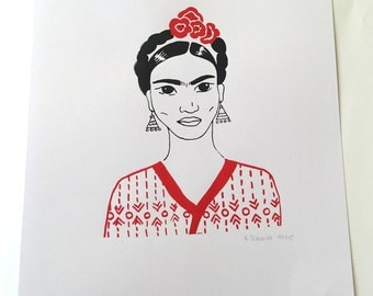"Screen printed A4 poster  ""Red Frida"""