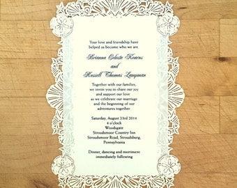 Laser Cut Wedding Invite - Seashells