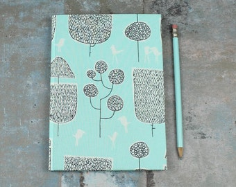 personalised notebook, travel diary, bullet journal, note book, diary, fabric-based notebook, notebook, light blue, black