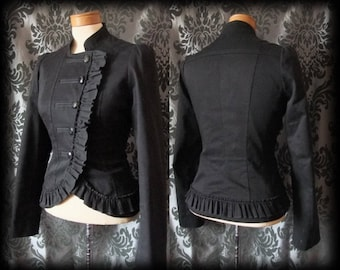 Goth Black Frill VICTORIAN High Neck Fitted Corset Riding Jacket 8 10 Steampunk