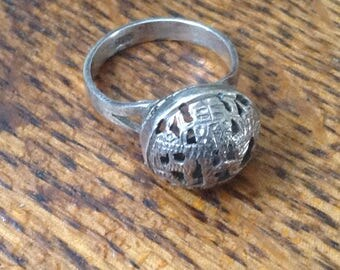 Vintage Hollow Sterling Cutout ring , size 7.5