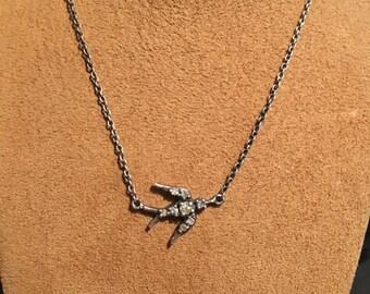 Oxidized Silver Diamond Dove Necklace