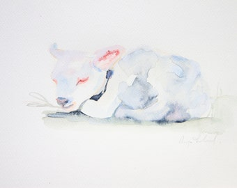 LAMB, SHEEP, original art, No print, Original watercolor of a donkey, Real painting farm animal painting for nursery