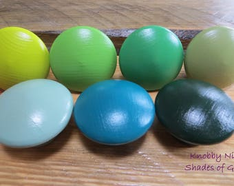 Green Solid Color Hand Painted Drawer Knobs | Dresser Pulls | Drawer Pulls | Nail Covers