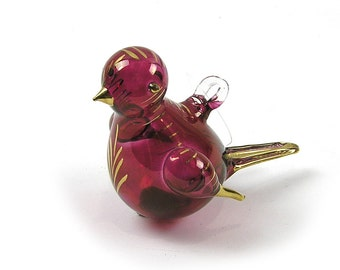 Vintage 1990s Glass Bird Christmas Ornament Blown Glass Bird