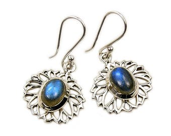 Mystic Princess Labradorite Earrings & .925 Sterling Silver Dangle Earrings AF370 The Silver Plaza