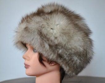 Vintage FOX FUR HAT , women's fur hat winter hat.........(016)