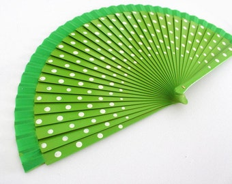 Hand Fans, hand fan, abanico,  Polkadots in green and white