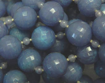 """Plastic Faceted Bead String - 12mm - 1/2"""" - Medium Dark Periwinkle and Green - Curtain Bead String Supply - Seven Yards"""