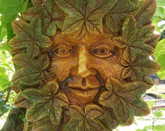 Large Green man Plaque nt'Summer' Jack in the green, pagan, wiccan, mayday,