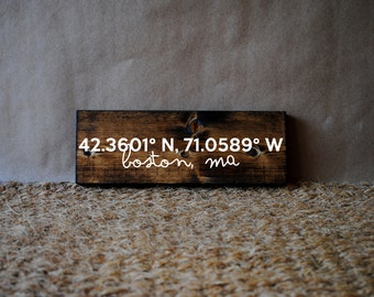 Coordinates, Hometown Sign | Wooden Sign, Housewarming Gift, Custom Coordinates sign, GPS Coordinates Gift, Latitude Longitude Sign