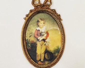 Framed Florentia Boy and puppy