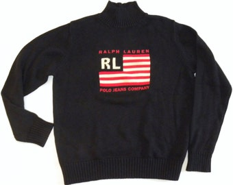 "Vintage Ralph Lauren POLO FLAG Sweater / Turtle Neck / Jumper /  Vintage size XL  / 46"" chest"