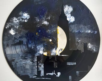 LP Acrylic Painted NYC Empire State Building Skyline @ Night on Ripped Label