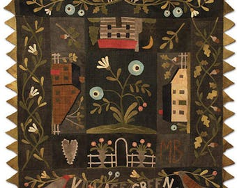 """Kit and Pattern: """"Village Green"""" Wool Appliqué Bed Cover by Maggie Bonanomi"""