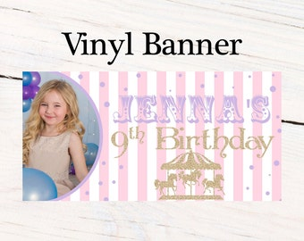 Carousel Personalized Banner - Carnival Birthday Party Banner - Photo Large Banners, Printed Vinyl Banner