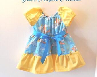 Baby Girls Disney Dumbo Peasant Ruffle Dress Ribbon Tie Sizes NB to 18 Months