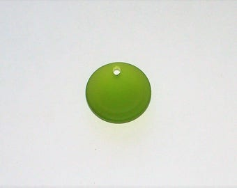 "Cultured  Olive ""Sea Glass""  Concave Coin - 24MM"