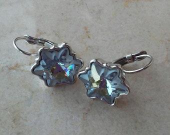 Snowflake earrings, Swarovski crystal earrings  by Faeriejems, Swarovski Edelweiss stones, light blue leverback earrings