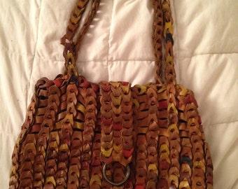 Vintage Woven Looped Brown Leather Handbag Purse Boho Bag