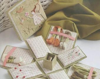 "DIY kit Victorian sewing box 4.3"" x 4.3"" x 4.3"" (11x 11 x 11cm), fabric covered cartonnage"