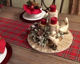 Plaid Table Runner Etsy - Christmas tartan table decoration