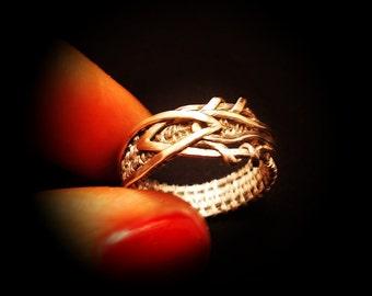Silver wire wrap ring, copper Origunal jewellery. Wire Wrap  Silver 925