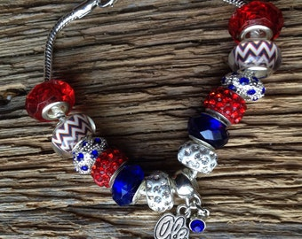 Ole Miss Rebels upcycled bracelet: Ole Miss red, white, and blue bracelet, Mississippi bangle, Rebels bracelet