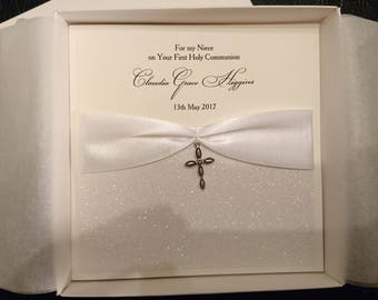 Luxury boxed 1st first holy communion card, Handmade and personalised