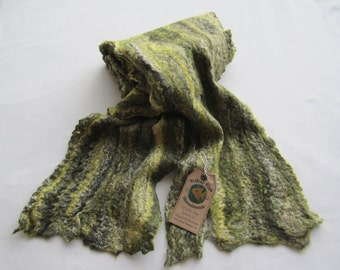 Wet Felted Multi-Coloured Cobweb Scarf, Lovely Shades of Green, Great for Autumn/Winter, Perfect Gift, Lovely and Warm