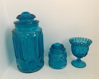 L E Smith Moon and Stars Blue Glass Canister Set with Drinking Glass / Votive Holder