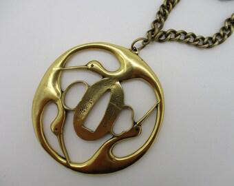 Gold Tone - Brass - Alva Museum Replica Japanese Samurai Katana Cranes Hand Guard Necklace