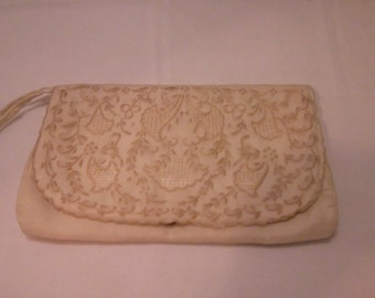Vintage Collection - Victorian Reproduction Embroidered Satin Clutch