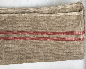 French Linen Tea Towels, Grey and Red Stripe, Woven Linen, Bistro Style Tea Towels, Brand New