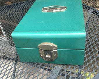 Metallic Green Steel Box w/clasp, Vintage