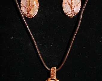 Tree of Life Pendant & Earring Set ~ Natural Fire Agate Gemstones