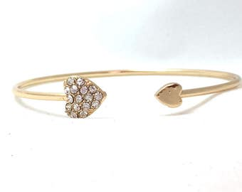 Thin Heart Bangle Bracelet, Rhinestone Heart Cuff Bracelet, Open Gold Tone Delicate Feminine Bangle, Stackable Romantic Hearts Bracelet