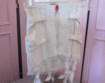 1940s White Cotton Jacquard Corset, Waist - 24; Hips - 32