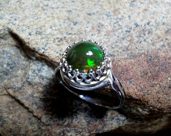 Ethiopian Smoked Black Opal Ring, Black Opal Ring, Fine Jewelry, Sterling Silver Ring, October Birthstone, Black Opal Ring