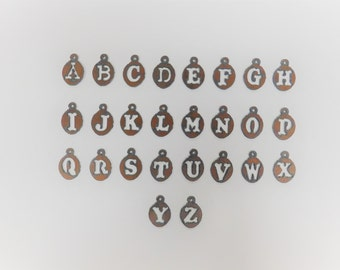 Initial (3) earring letter in round rusted metal mix and match