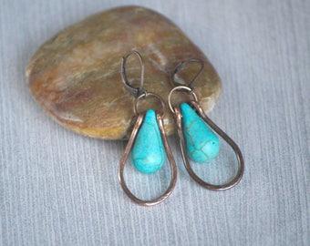 Dangle Copper Earrings with framed Turquoise color drops - Copper Wire Earrings - Dangle Earrings - Turquoise Drop Earrings EA0002