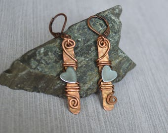Heart Copper Earrings  - Hematite Stone Earrings - Copper Wire Wrap Earrings - Dangle Earrings - Tribal Earrings EA0006