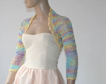 Wedding Bridal Bolero Shrug Lace Crochet Knit Shrug Boleros Multicolor Pink blue yellow