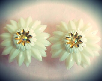 Stunning Vintage 1950's CORO magnetic soft snowy white plastic flower AB rhinestone earrings ~ Coro Magic Patent Pending ~ Mid Century