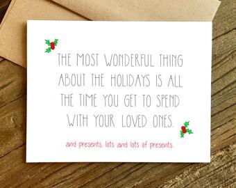 Funny Christmas Card - Funny Holiday Card - Holiday Card - Christmas Card - Presents.