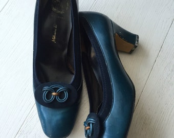 Petrol blue metallic 70's shoes