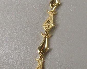 """SALE! 10% OFF ~ Cute 14k Gold Dolphin Link Bracelet ~ 7"""" Long"""