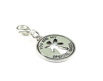 SALE You are My Special Angel Zipper Pull Purse Charm Silver Clip On Charms