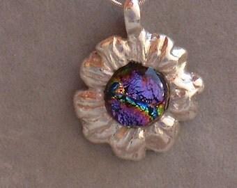 "Art Clay Silver ""Daisy"" w/ dichroic glass"