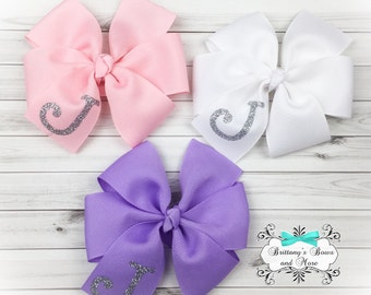 Monogrammed Pinwheel Hair Bow Set ~ Simple Bows ~ Pinwheel Bows ~